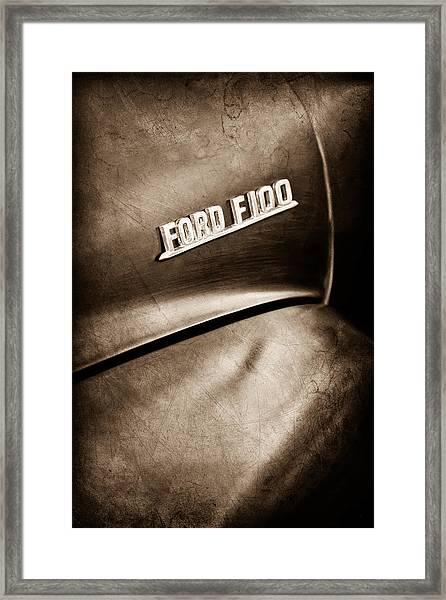 1953 Ford F-100 Pickup Truck Emblem Framed Print
