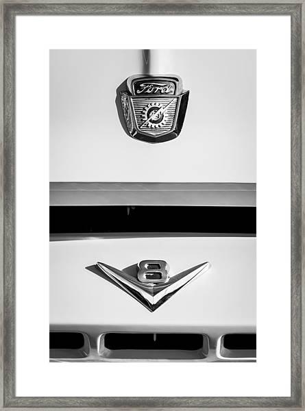 1954 Ford F-100 Custom Pickup Truck Emblems Framed Print
