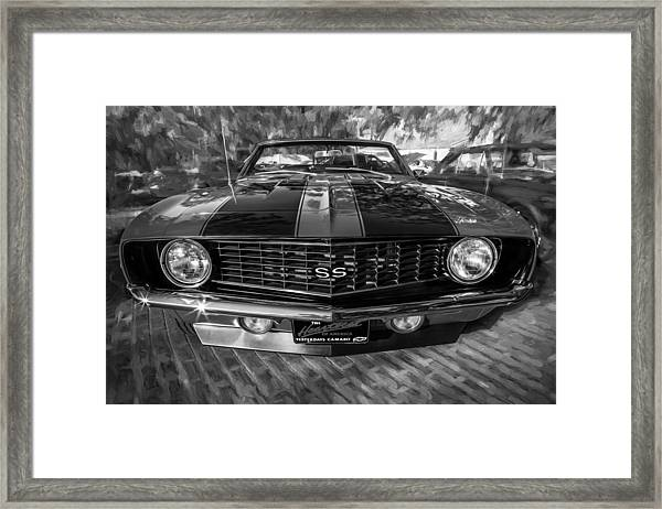 1969 Chevy Camaro Ss Painted Bw Framed Print