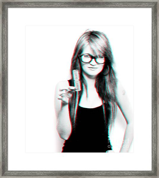 3d Woman Holding Movie Tickets Framed Print