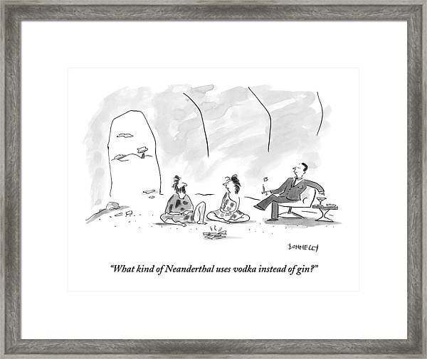A Caveman And Cavewoman Sit On The Floor Framed Print