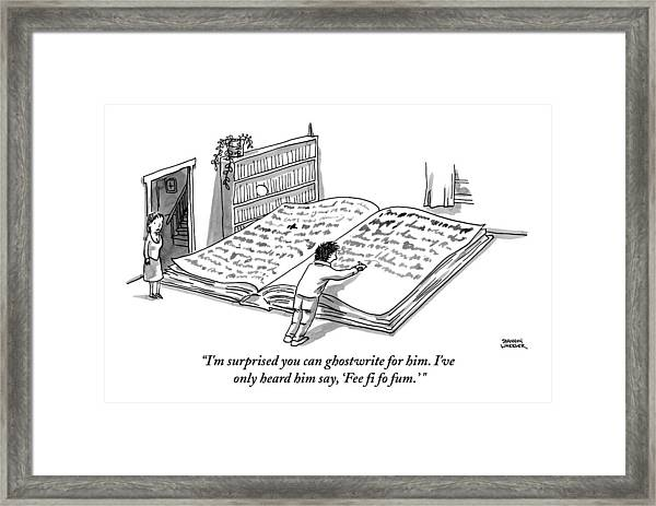 A Man Is Writing In A Huge Book On The Floor Framed Print