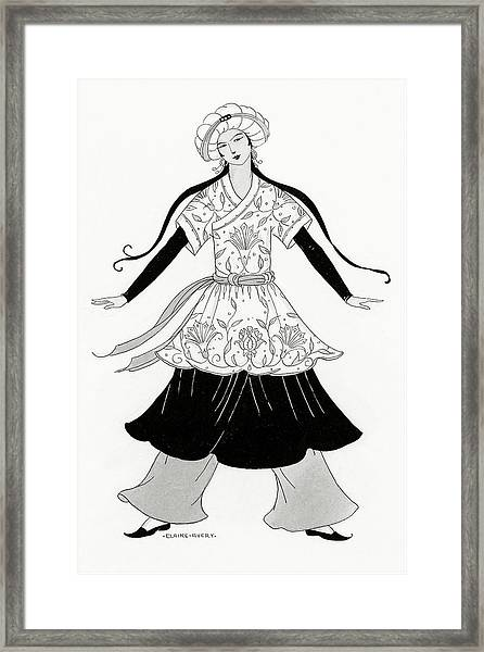 A Person Modeling A Historical Costume Framed Print