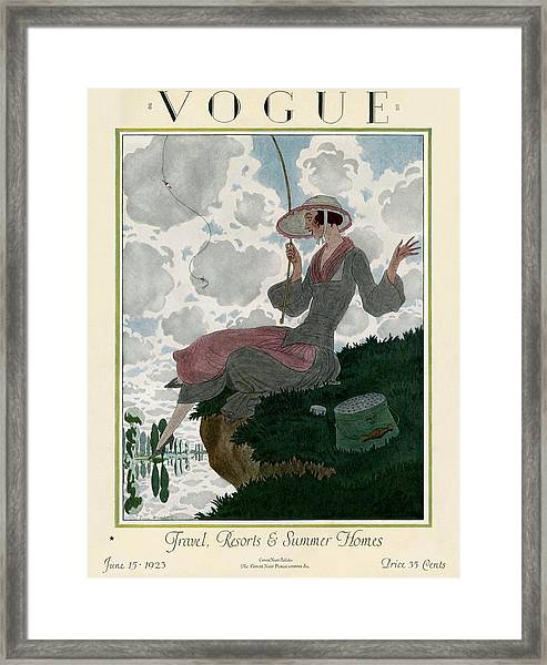 A Vogue Magazine Cover Of A Woman Framed Print by Pierre Brissaud