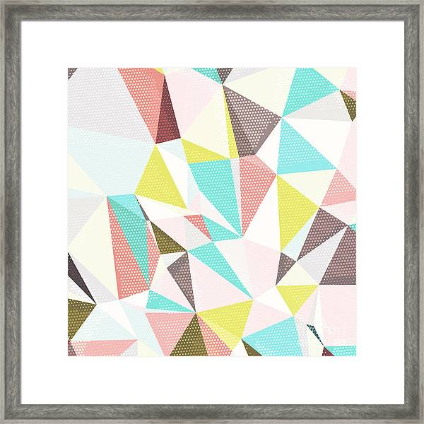 Abstract Background With Triangles And Framed Print by Romas photo