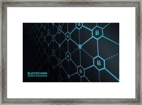 Abstract Blockchain Network Background Framed Print by AF-studio