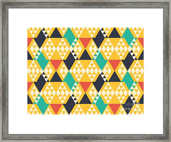 Abstract Retro Pattern. Vector Framed Print