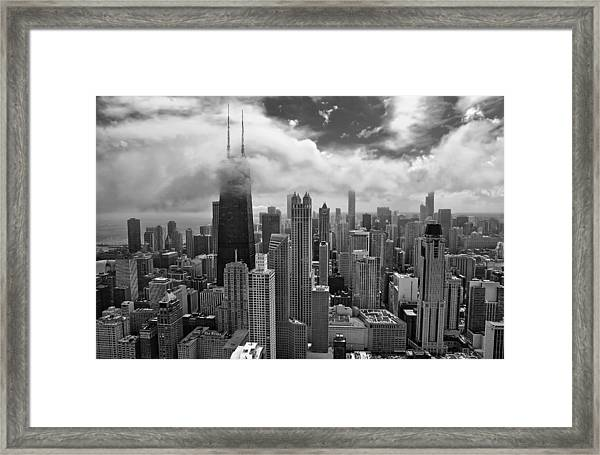 Aerial Chicago Featuring John Hancock Center Framed Print