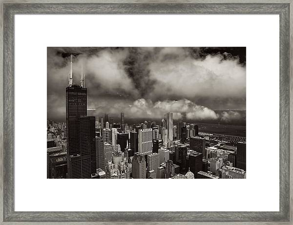 Aerial Photo Of Chicago Near Willis Tower Framed Print