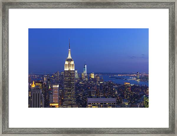 Aerial View Of Empire State And Midtown Framed Print