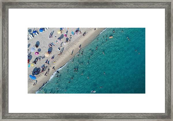 Aerial View Of Summer Sea Beach Framed Print by Jasmin Merdan