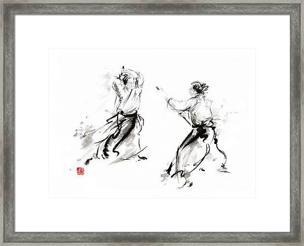 Aikido Enso Circle Martial Arts Sumi-e Original Ink Painting Artwork Framed Print