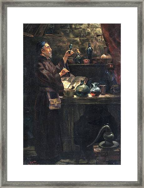 Alchemist At Work Framed Print by Will Brown/chemical Heritage Foundation/science Photo Library