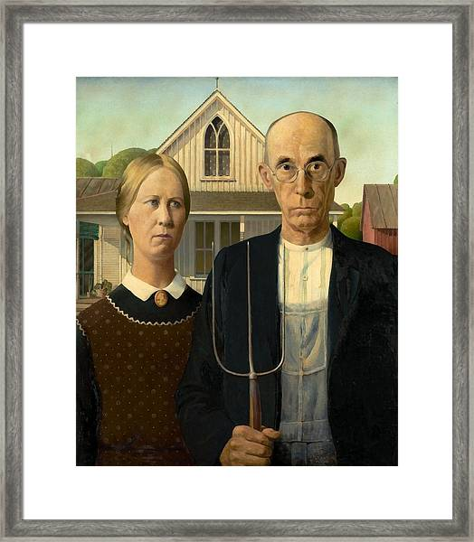 Framed Print featuring the painting American Gothic by Grant Wood