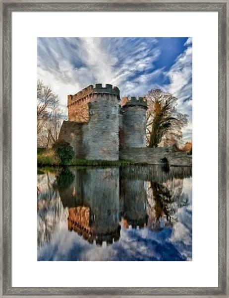 Ancient Whittington Castle In Shropshire England Framed Print