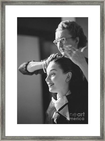 Audrey Hepburn Preparing For A Scene In Roman Holiday Framed Print
