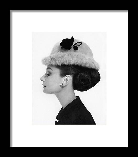 Audrey Hepburn Wearing A Givenchy Hat Framed Print