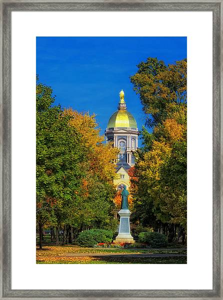 Autumn On The Campus Of Notre Dame Framed Print
