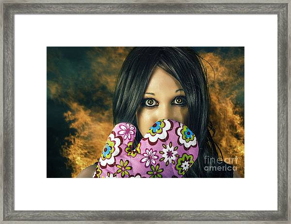 Bad Cooking Woman Burning Down House Framed Print