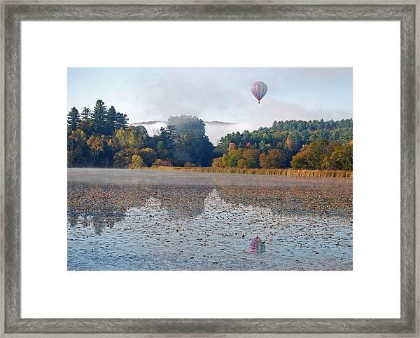 Balloon Rise At Dawn Framed Print by Gloria Merritt