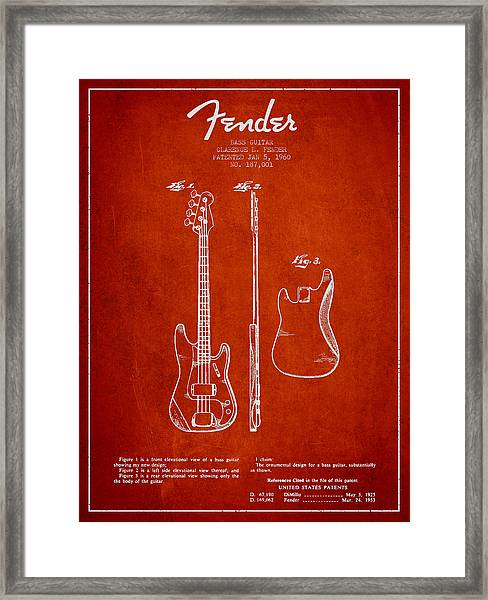 Bass Guitar Patent Drawing From 1960 Framed Print