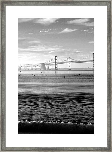 Bay Bridge Bw Framed Print
