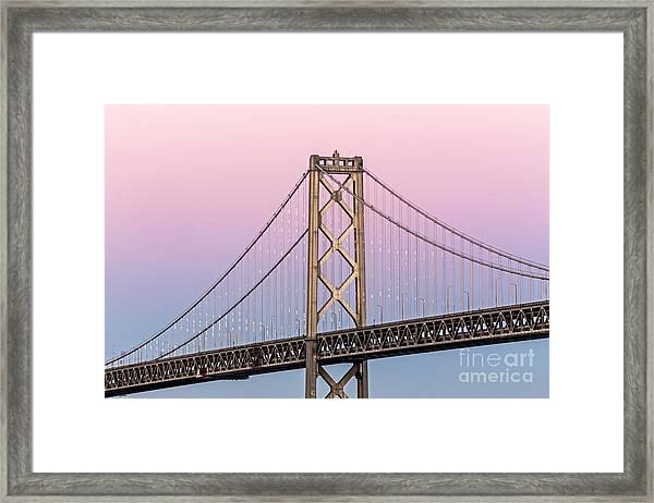 Bay Bridge Lights At Sunset Framed Print