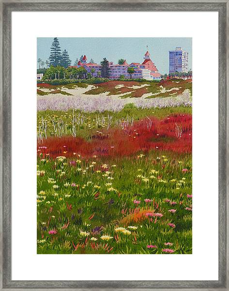 Beach Flowers At The Del Framed Print