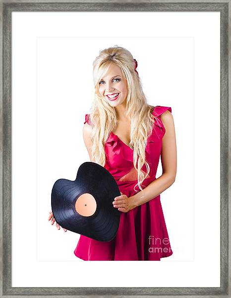 Beautiful Blonde With Heart-shaped Record Framed Print