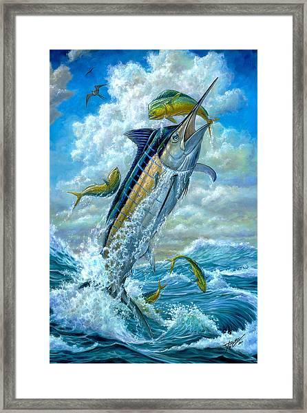Big Jump Blue Marlin With Mahi Mahi Framed Print
