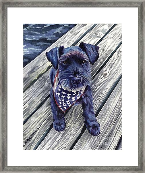 Black Dog On Pier Framed Print