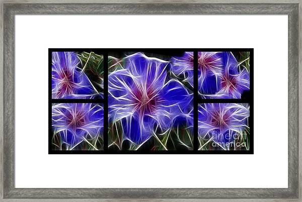 Blue Hibiscus Fractal Framed Print