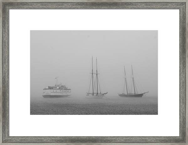 Boats In Fog Framed Print