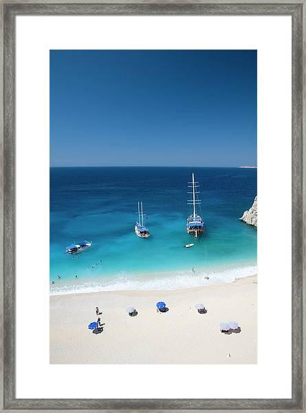 Boats Moored In Blue Waters Of Kaputas Framed Print