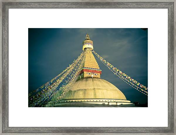 Bodhnath Stupa At Night In Kathmandu Framed Print