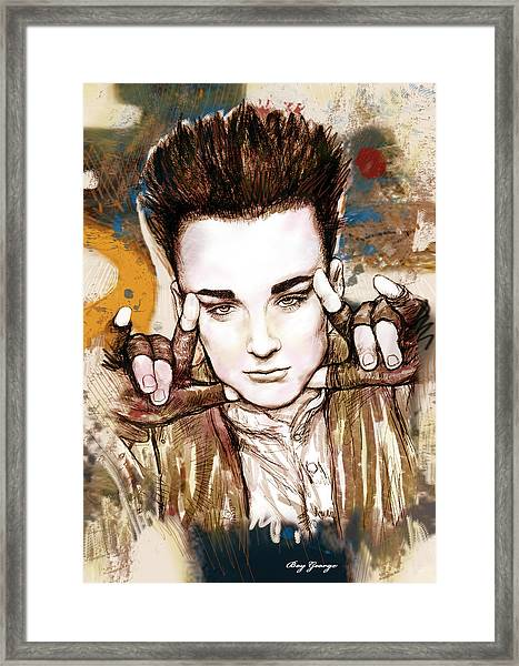 Boy George Stylised Drawing Art Poster Framed Print