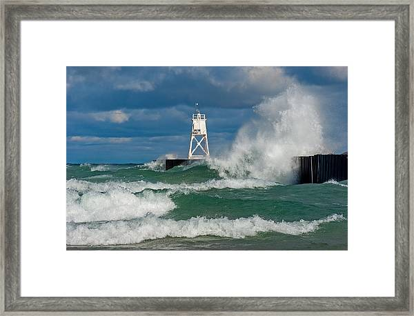 Break Wall Waves Framed Print