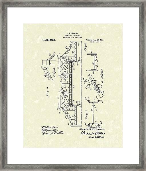 Bridge 1918 Patent Art Framed Print