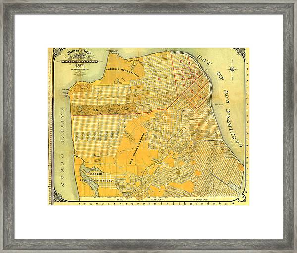 Britton And Reys Guide Map Of The City Of San Francisco. 1887. Framed Print