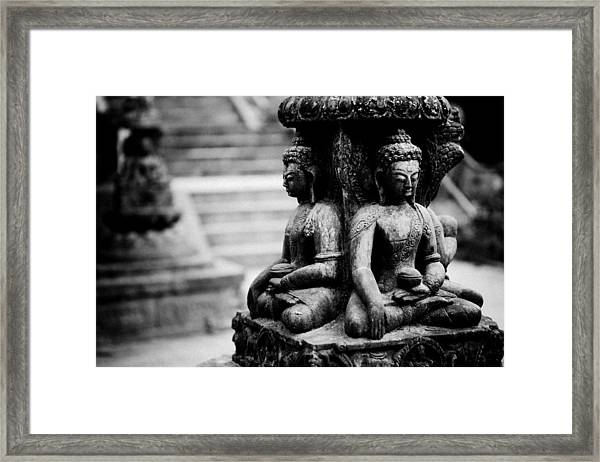 Framed Print featuring the photograph Buddhist Sculpture Near Swayambhunath by Raimond Klavins