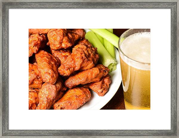 Buffalo Wings With Celery Sticks And Beer Framed Print