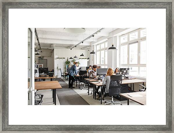 Business People Working In Modern Office Space Framed Print by Alvarez