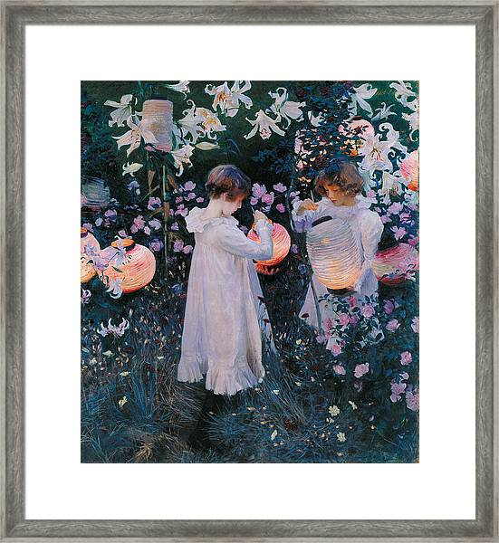 Framed Print featuring the painting Carnation Lily Lily Rose by John Singer Sargent