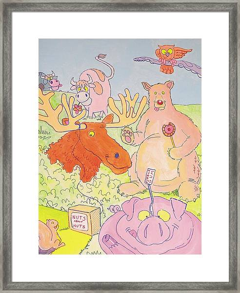 Cartoon Animals Framed Print