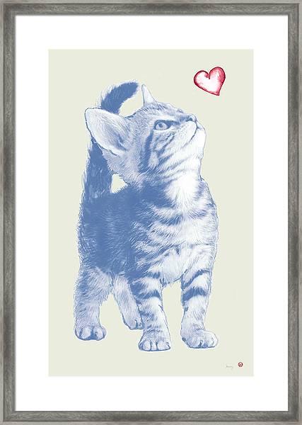 Cat With Love Hart Pop Modern Art Etching Poster Framed Print by Kim Wang