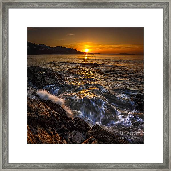 Chamoso Point In Ares Estuary Galicia Spain Framed Print