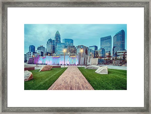 Charlotte City Skyline In The Evening Framed Print