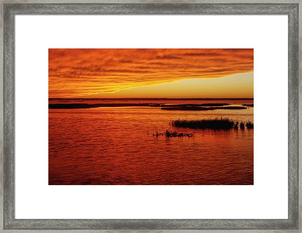 Cheyenne Bottoms Sunset Framed Print