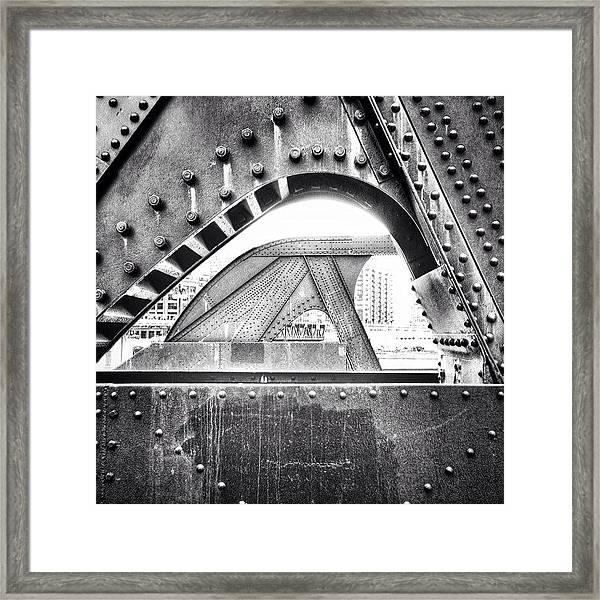 Chicago Bridge In Black And White Framed Print