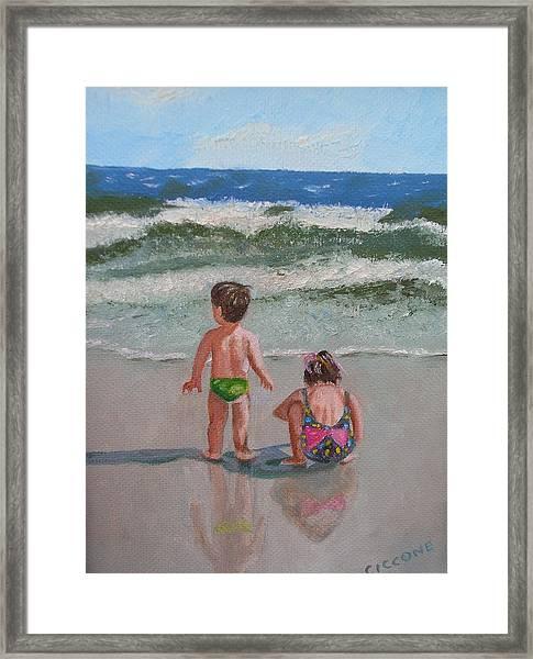 Children On The Beach Framed Print